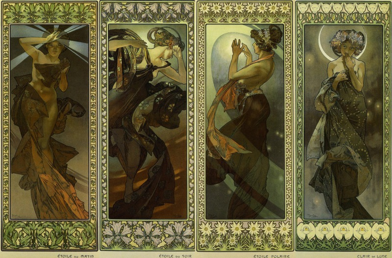 Alphonse Mucha, The Moon and the Stars (1902) Colour lithograph